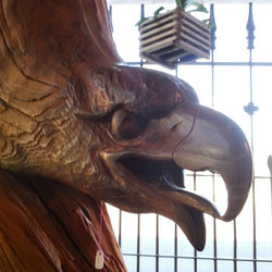 A partridge in a pear tree.... Oh wait. An eagle carved in a tree