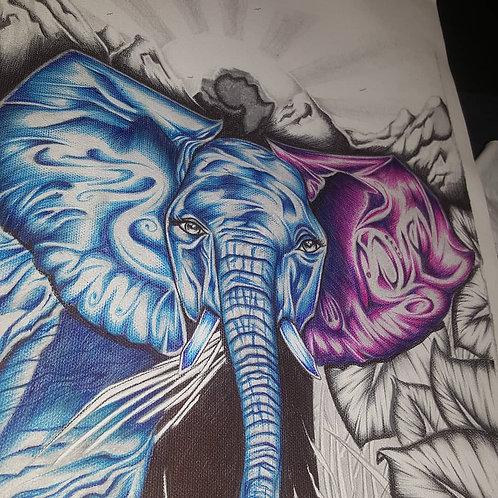 "Blue 9""x12"" canvas"
