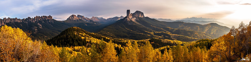 Courthouse Mountain Sunset Panorama