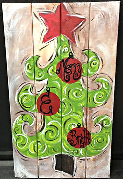 Christmas Tree on Wood