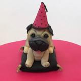 Pug dog cake topper