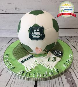 Plymouth Argyle Football Cake by Love2bake