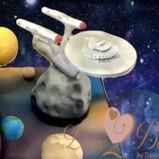 Starship Enterprise ship cake topper