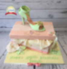 High heel shoe and box cake