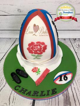 England Rugby Ball cake