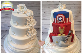 Marvel Double sided Wedding Cake by Love2bake