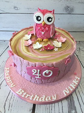 Pink Owl Cake - Tree bark