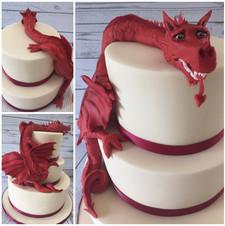 Welsh Dragon Wedding Cake by Love2bake