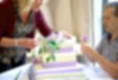 Setting up wedding cake