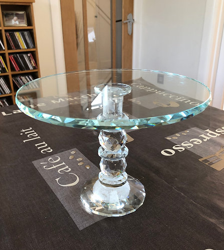 "For Hire Price Only - Glass Cake Stand 9.5"" x 7"" height"