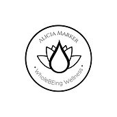 Alicia Marker WholeBEing Wellness Oil drop and Lotus logo