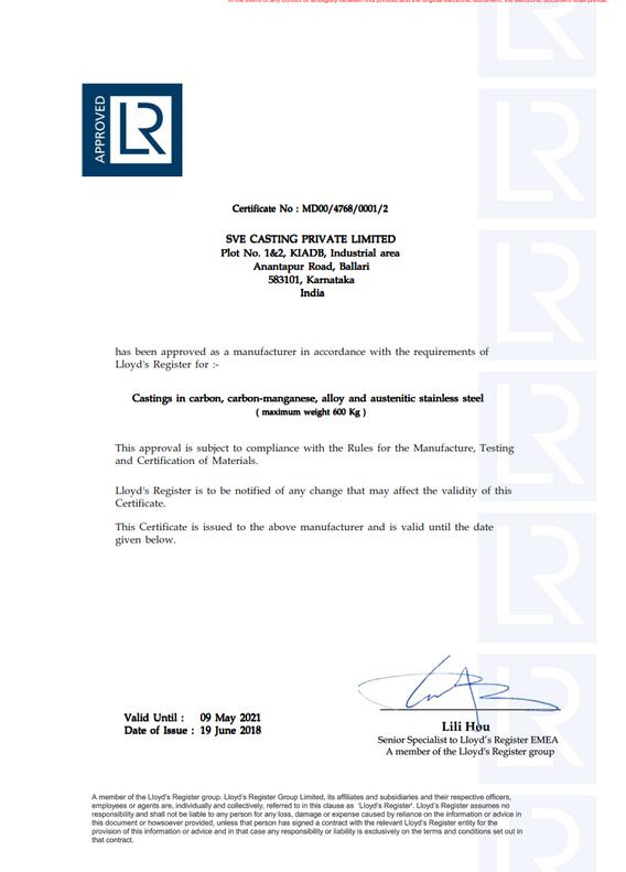 Llyods Certificate