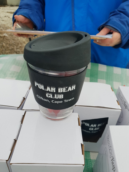 The new addition to the merchandise itinerary, the refillable Polar Bear mug.