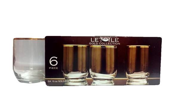Letoile 6pc Gold Collection 296ml Glass Set