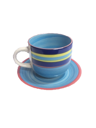 Hand Painted Stoneware 12 Piece Cup and Saucer