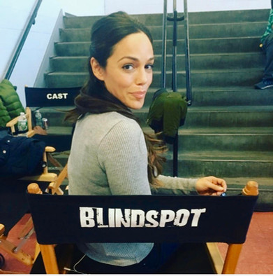 on the set of NBC's Blindpsot having some fun playing an agent