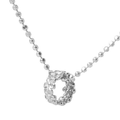 925 Sterling Silver Diamond Cut Ball Chain with Flower Ring Pendant. Silver Necklace for Women.