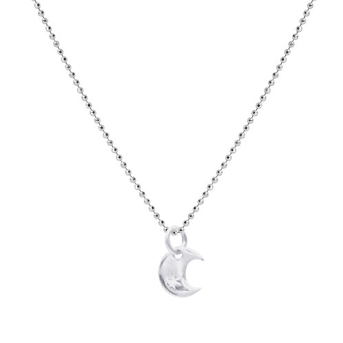 925 Sterling Silver Diamond Cut Ball Chain with Moon Pendant. Silver Necklace for Women.