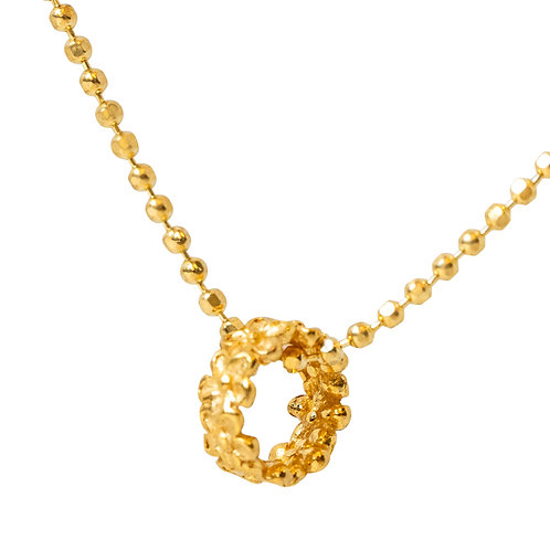 24k Gold on 925 Sterling Silver Chain with Flower Ring Pendant