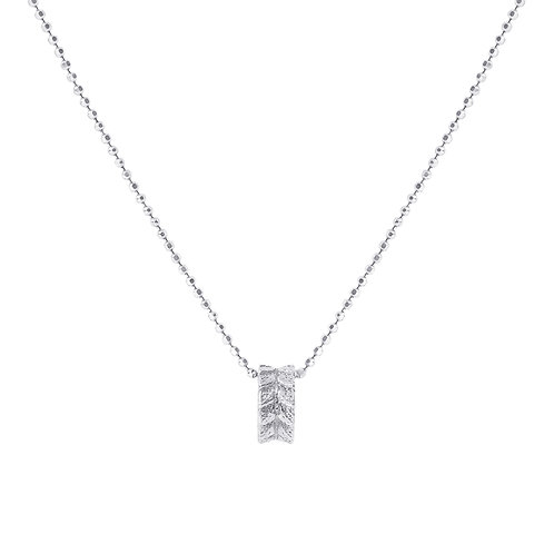 925 Silver Diamond Cut Ball Chain with Leaf Ring Pendant. Silver necklace for Women.