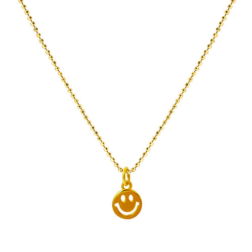 24k Gold Plated on 925 Sterling Silver Chain with Smiley Face Pendant