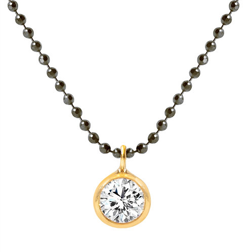 Rhodium Plated on 925 Sterling Silver Chain with Gold Plated Zirconia Solitaire Pendant