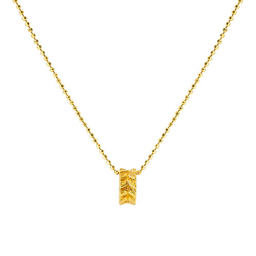 24k Gold on 925 Sterling Silver Chain with Leaf Ring Pendant