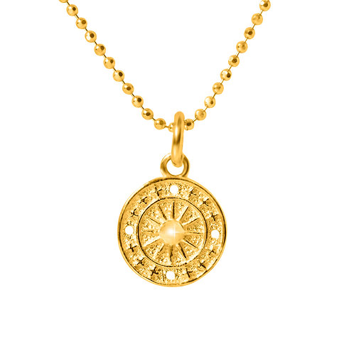 24k Gold Plated on 925 Sterling Silver Chain with Disc Pendant