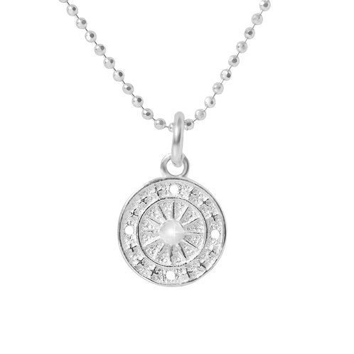 925 Sterling Silver Diamond Cut Ball Chain with Disc Pendant. Silver Necklace for Women.