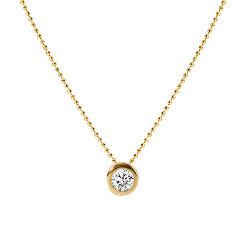 24k Gold on 925 Sterling Silver Chain with Zirconia Solitaire Pendant