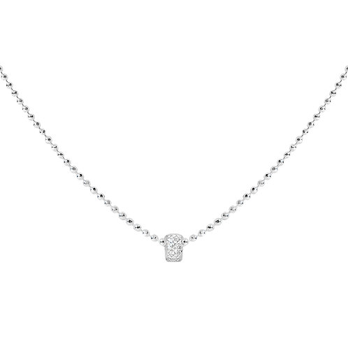 925 Sterling Silver Diamond Cut Ball Chain with Ring Pendant. Silver Necklace for Women.