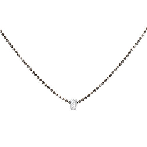 Rhodium Plated on 925 Sterling Silver Diamond Cut Ball Chain with Ring Pendant. Silver Necklace for Women