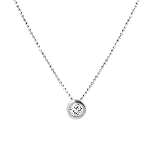 925 Sterling Silver Diamond Cut Ball Chain with Zirconia Solitaire Pendant. Silver Necklace for Women.