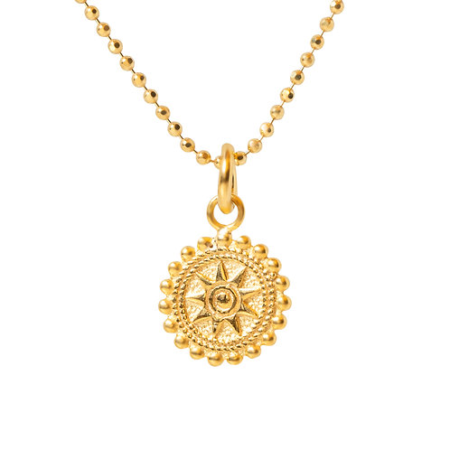 24k Gold Plated on 925 Sterlilng Silver Chain with Disc Pendant