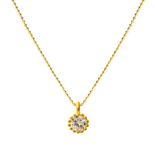 24k Gold Plated on 925 Sterling Silver Chain with Zirconia Solitaire Pendant