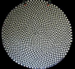 Round braided wool rug