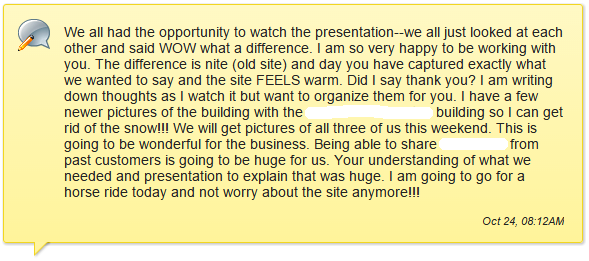 Web design client testimonial