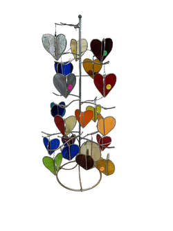 Stained glass heart ornaments