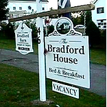 The Bradford House business sign