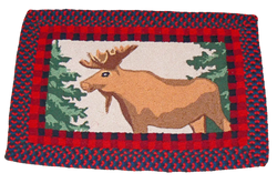 Moose and pine tree rug