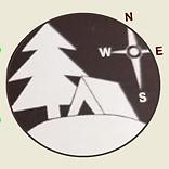 evergreen tree, tent, compass