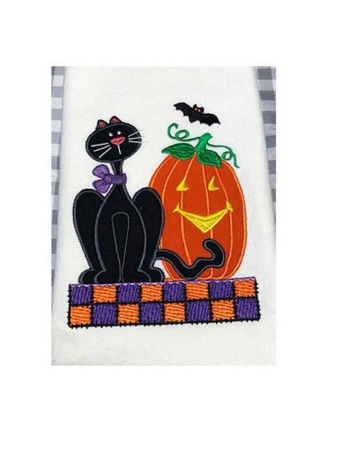 Halloween Cat & Jack O Lantern - Kitchen Towel