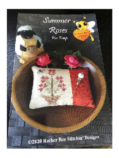 Summer Roses - Pin Keep - Rather Bee Stitchin - Cross Stitch Pattern