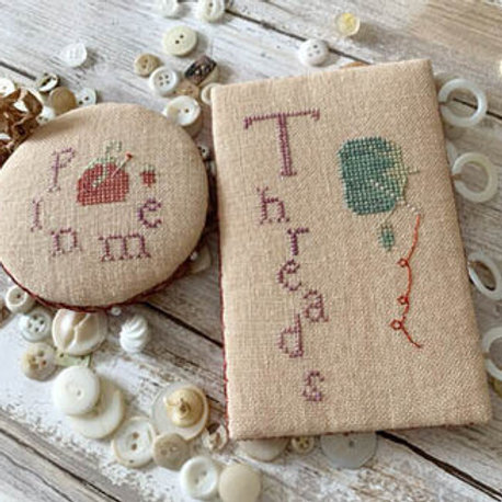 Heirloom Tomatoes Needlework Set - Pin Round & Thread Board - by Lucy Beam