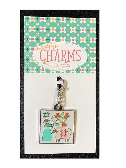 Lori Holt Enamel Happy Charm - Prim Charm Girl with Sheep