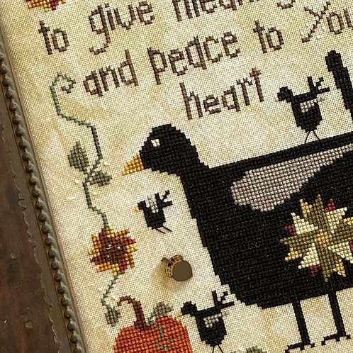 Patchwork Crow - Heart In Hand - Cross Stitch Pattern