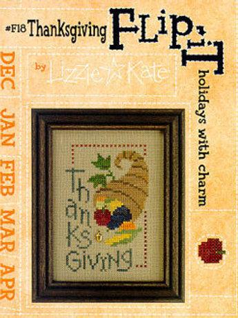 Thanksgiving -Flip-It charm - Lizzie Kate - Cross Stitch Pattern