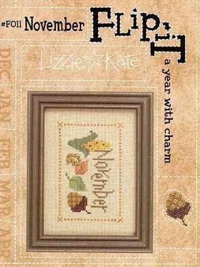 Flip-It Charm November - Lizzie Kate - Cross Stitch Pattern