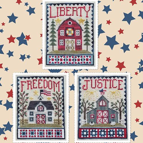 Patriotic Barn Trio - By Waxing Moon Designs