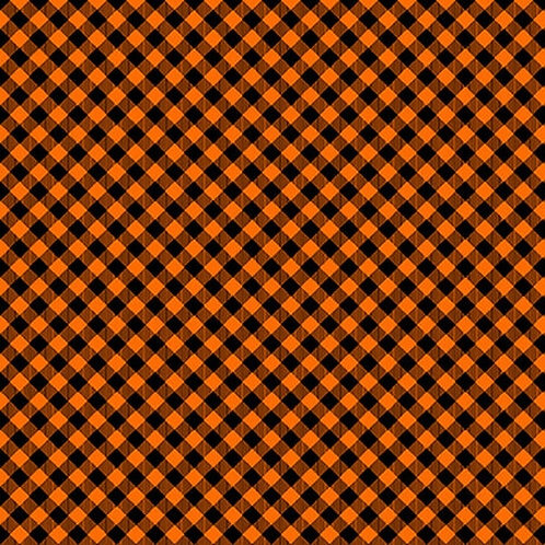 Chelsea's Check - Orange/Black - 1 Yard Cut - Stitching the Housewives